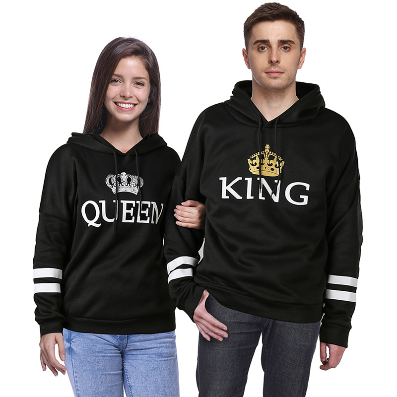 H&R NEW Fashion Lover Couple Matching King Queen Hoodie Sweatshirt Jumper Tops
