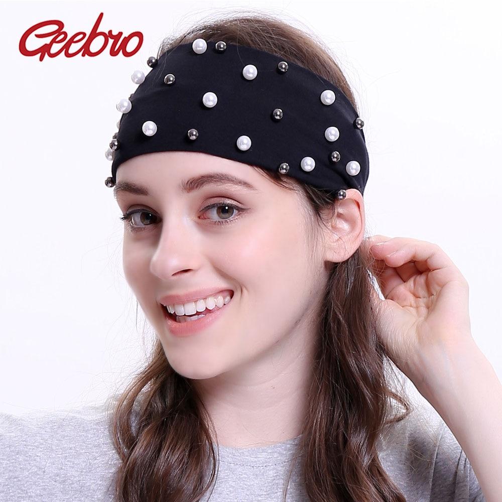 Geebro Women's Plain Stretch Headbands Fashion Cotton Pearls Elastic Flat Headband For Girls Shine White Black Pearl Hair Band