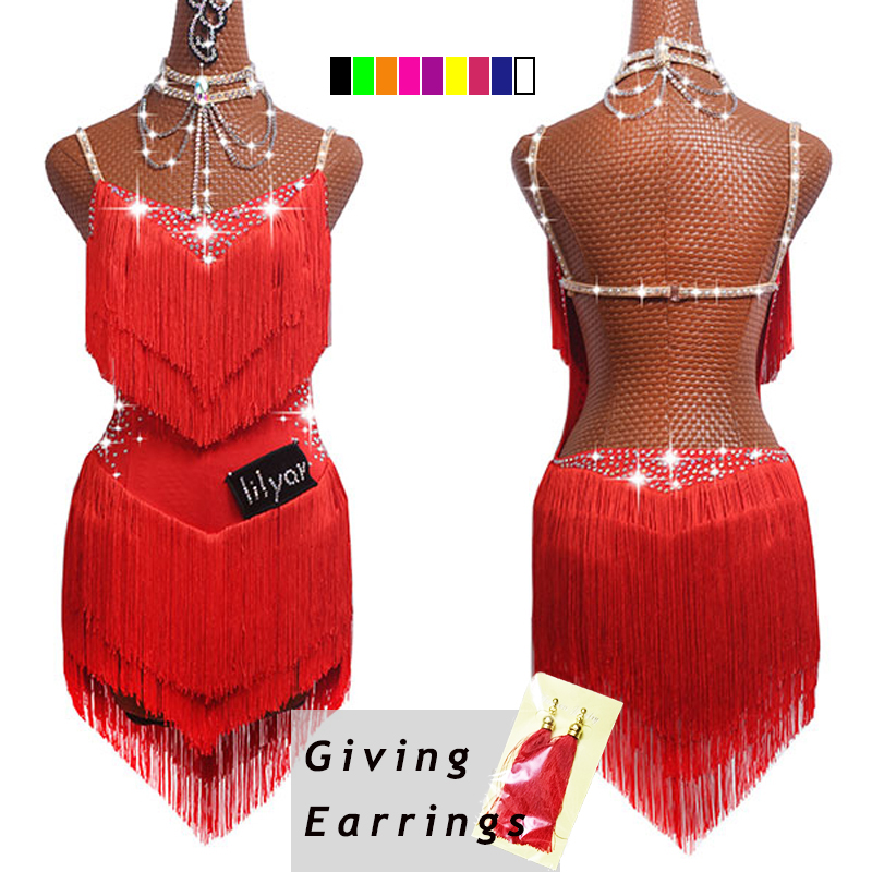 Dance-Dresses Fringe-Tassel Latin Party Singer Women for Black Lace Club Entertainer