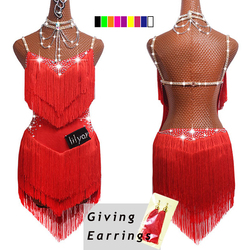 2019 Top Sale Latin Dance Dresses For Women Black Lace Club Party Dancer Singer Entertainer Fringe Tassel Black Dress DM1034