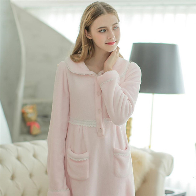 New Arrivals Cofal Fleece Long Nightgowns With Pocket Vintage Princess Pink Nightdress Lace Sweet Comfortable Home Dress #LL36