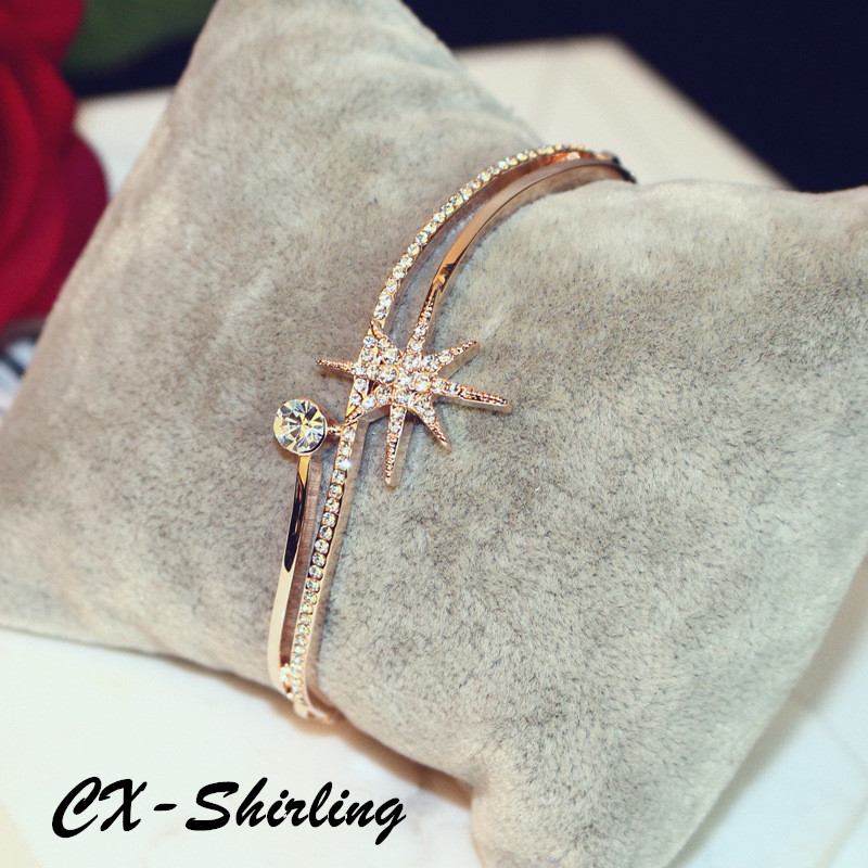 все цены на CX-Shirling Brand Quality Full Crystal Star Bangle Mulity Layers Color Retention Rose Gold Color Rhinestone Bracelet Bangle