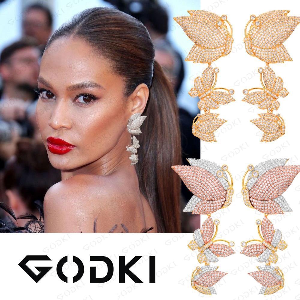 Image 4 - GODKI Luxury Butterfly Long Dangle Earrings For Women Wedding Cubic Zircon Crystal CZ Dubai Bridal Earring Fashion Jewelry 2019-in Drop Earrings from Jewelry & Accessories