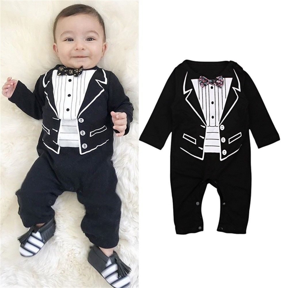 Newborn Boys Rompers Baby Kids Boys Gentleman Jumpsuits With Bow Infant Children Cute Outfits Tuxedo Suits Clothes