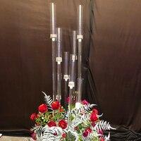 Главная Свадьба декоративный светильник акрил высокий большой подсвечник держатели Свадебный Стол Центральным цветок стенд держатель кан
