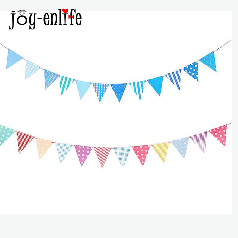 JOY-ENLIFE 1set Paper Board Bunting Pennant Flags Banner Garland For Baby Shower Birthday Party Decoration Kids Room Decoration