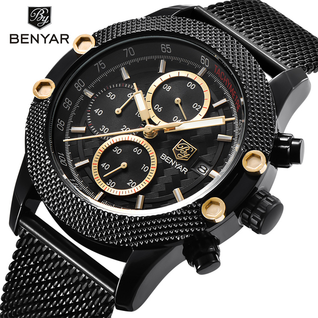 Sport Chronograph Fashion Watches Men Mesh & Rubber Band Waterproof Luxury Brand Quartz Watch 4
