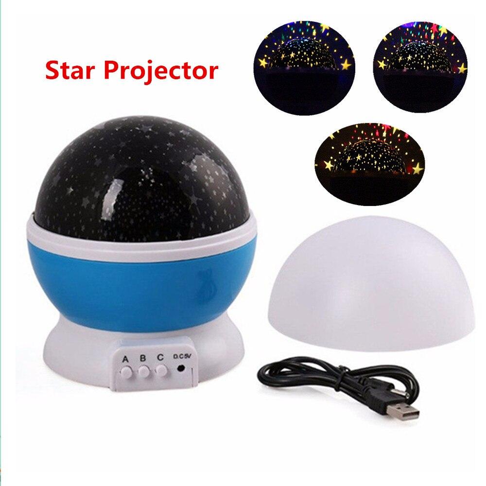 Romantic Rotating Room Novelty Night Light Rotary Flashing Starry Star Moon Sky Star Projector Kids Children Baby lantern Lamp