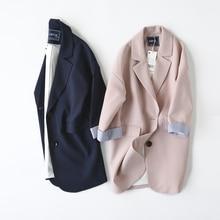 Double Breasted Women Suit Jacket female Korean Medium Long female Coat blaser feminino Casual coat female