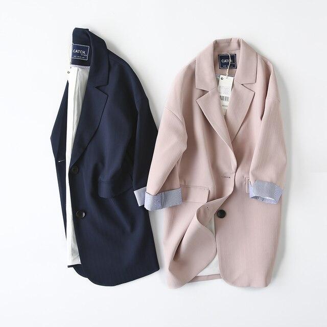 Double Breasted Women Suit Jacket female Korean Medium Long female Coat blaser feminino Casual coat female Autumn blazers