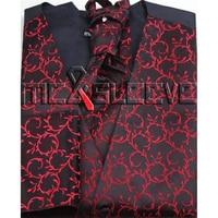 free shipping red fabric  Men's Suit Tuxedo Dress waistcoat 4pcs