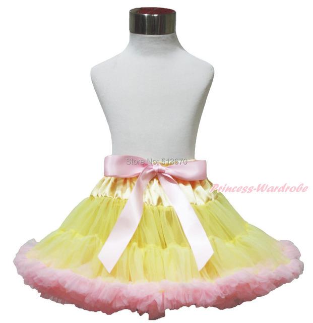 Pascua amarillo rosa claro grande del arco de color rosa bebé danza Pettiskirt del tutú 1-8Y MADRE0032