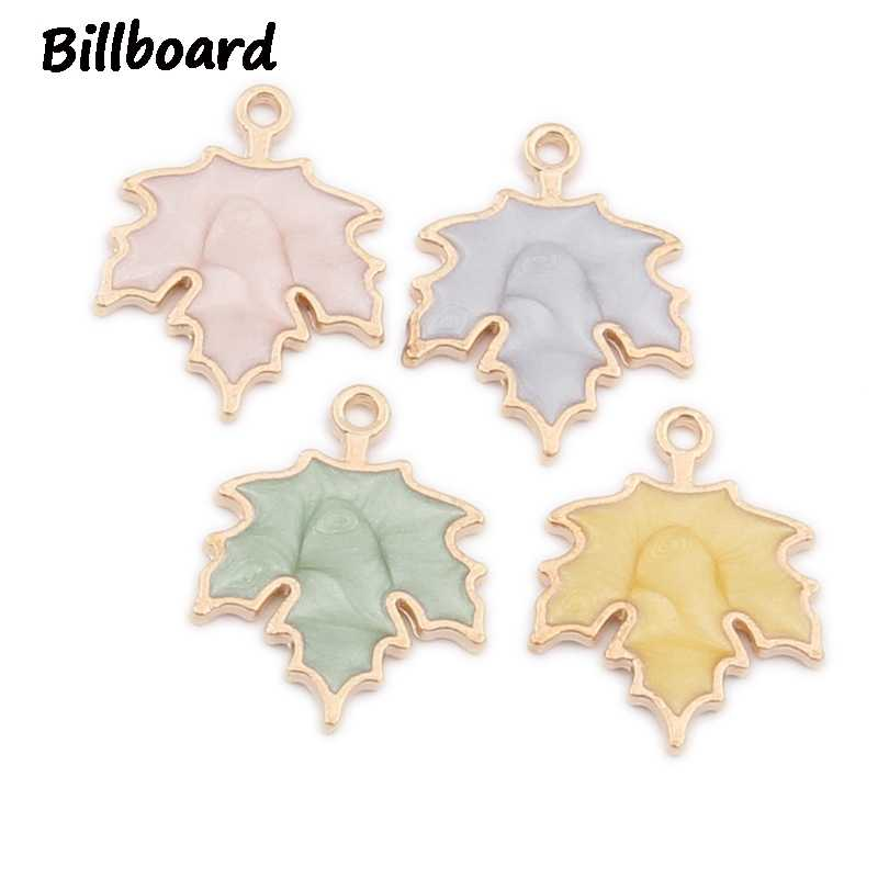 Enamel Maple leaves Women's Charms for Jewelry Making Zinc Alloy Trendy Metal 4 colors Leaf Wholesale Lots Bulk 10pcs/bag