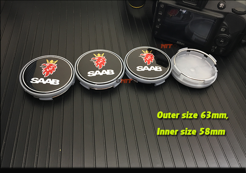 Wholesale Free Shipping 100pcs 62mm Auto Wheel Hub Logo Cover Carbon Fiber saab label Car Wheel Emblem Cap 63mm(58mm)