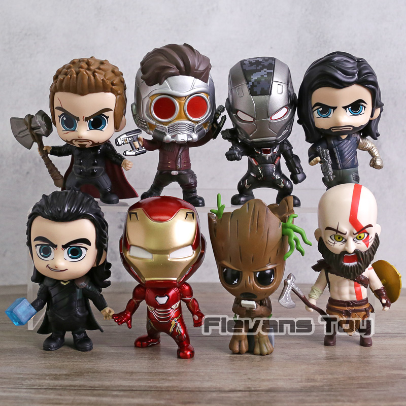 Marvel Avengers Thor Loki Iron Man War Machine Star Lord Kratos Winter Soldier Action Figure Toys Car Decoration Dolls 8pcs/set