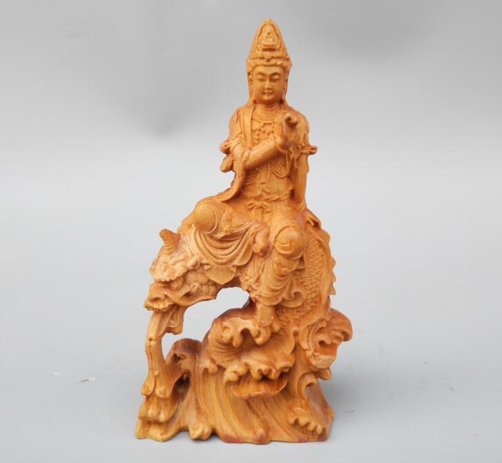 Sculpture sur bois chinois guanyin bodhisattva bouddha équitation statue de dragon