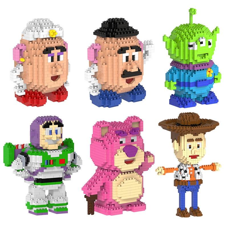 HC Magic building blocks Bear cartoon Building toys Buzz Light year Auction Figures Potato Anime Aline