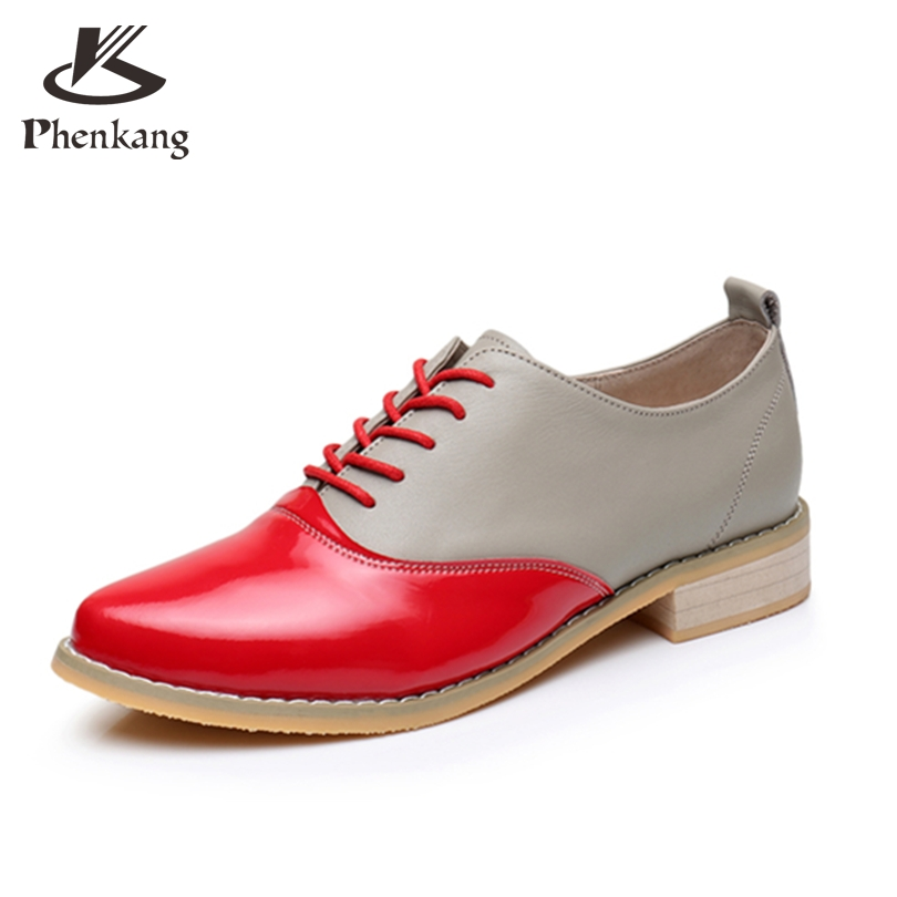 ФОТО 2017 Genuine leather woman big size US9.5 US8.5 point toe vintage oxford shoes handmade yellow red gray oxford shoes for women