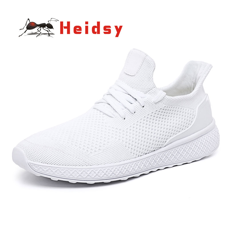 Heidsy Spring and Autumn Sports Shoes Trend Breathable Mesh Lightweight New Sports Shoes White Men's Shoes Zapatos Hard Wearing