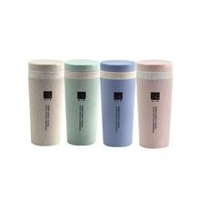 цена на Bpa-free 300ml Hot Selling milk cup of NATURAL Green Wheat Straw PLASTIC BIODEGRADABLE  Drinking coffee tea mug with rope