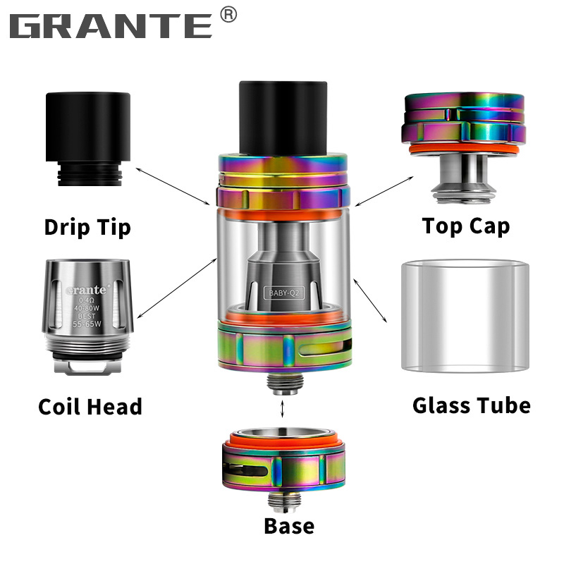 100 Original Grante V8 Baby Atomizer With V8 Baby Vape Core Fit For V8 Big Baby Coil Head Q2 M2 X4 T6 T8 Mesh Vape Coils in Electronic Cigarette Atomizers from Consumer Electronics