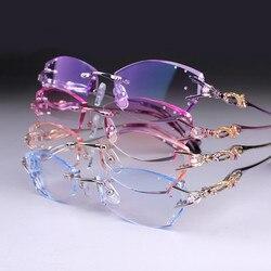 Brillen Frauen Randlose Brillen Angepasst myopie hyperopie brille Progressive Optische gläser