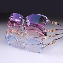 Eye glasses for women fashion charm rimless diamond eyeglasses prescription glasses frames customized myopia, hyperopia glasses