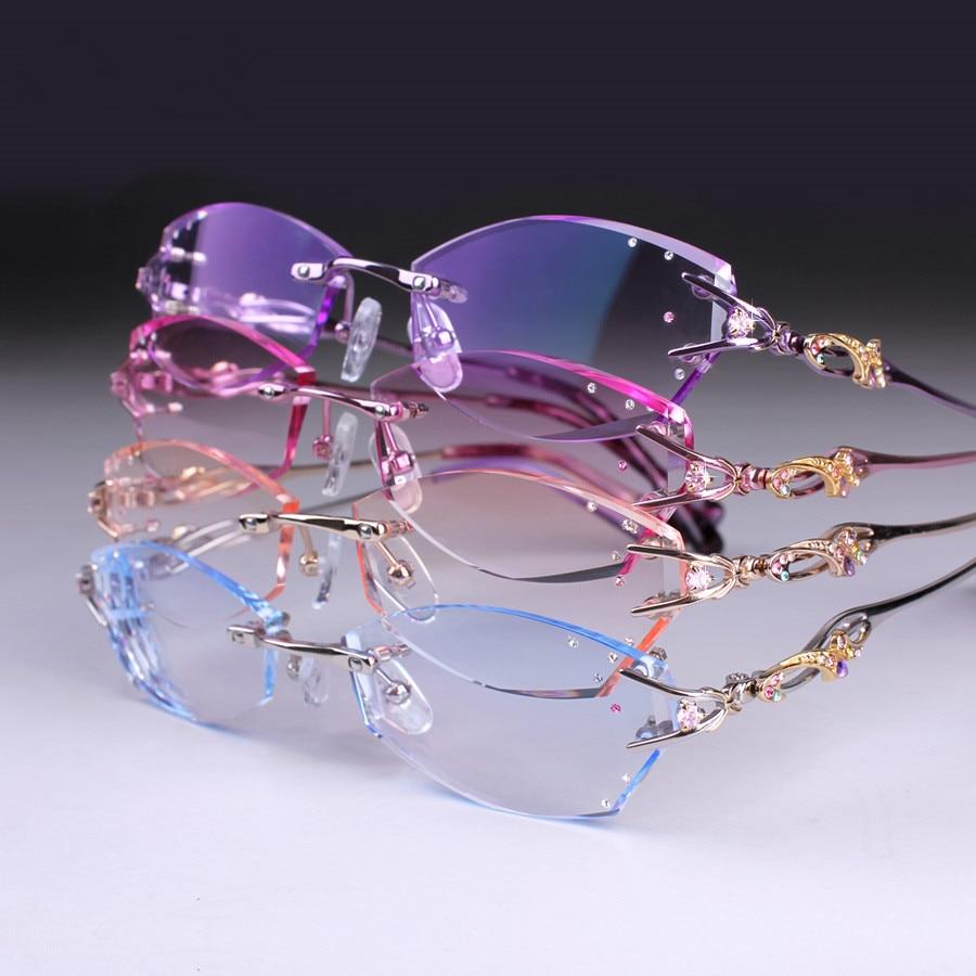 Eye glasses for women fashion charm rimless diamond eyeglasses prescription glasses frames customized myopia hyperopia glasses rimless cat eye glasses