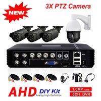 Открытый 8CH 1080N 5 в 1 гибридный видеорегистратор AHD 720 P 4CH 1500TVL безопасности Камера Системы 3X зум PTZ Камера телеметрией видеонаблюдения DIY Kit