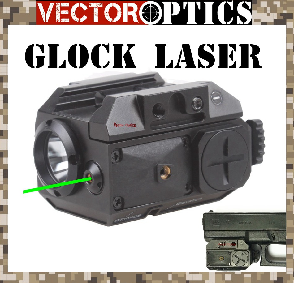 Vector Optics Blackout Tactical Pistol Handgun Weapon Flashlight with Green Laser Dot Sight fit 20mm Weaver Rails for Glock hunting compact tactical green laser sight flashlight combo low profile pistol handgun light with 20mm picatinny rail
