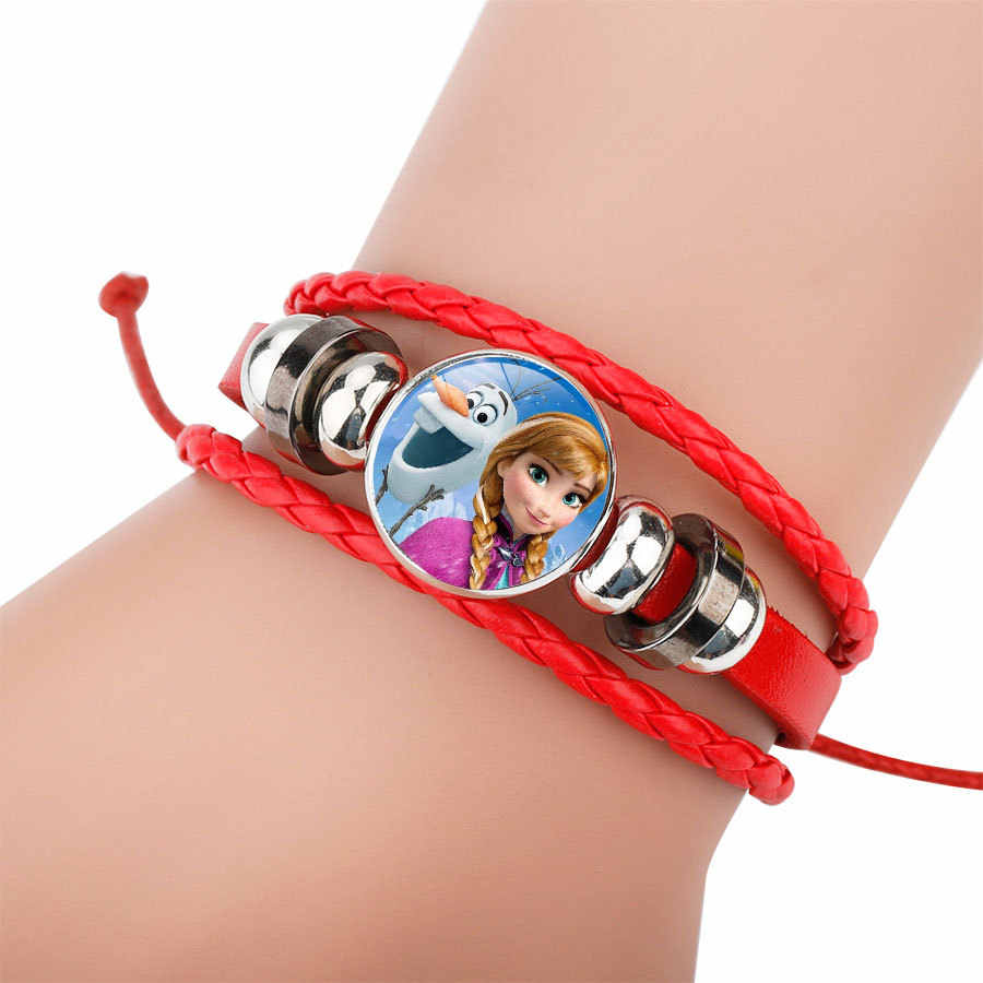 2018 Vintage Cute Snow Queen Glass Charms Cartoon Princess Braid Leather Bracelet Bangles Wristbands Kids Party Gift Supply