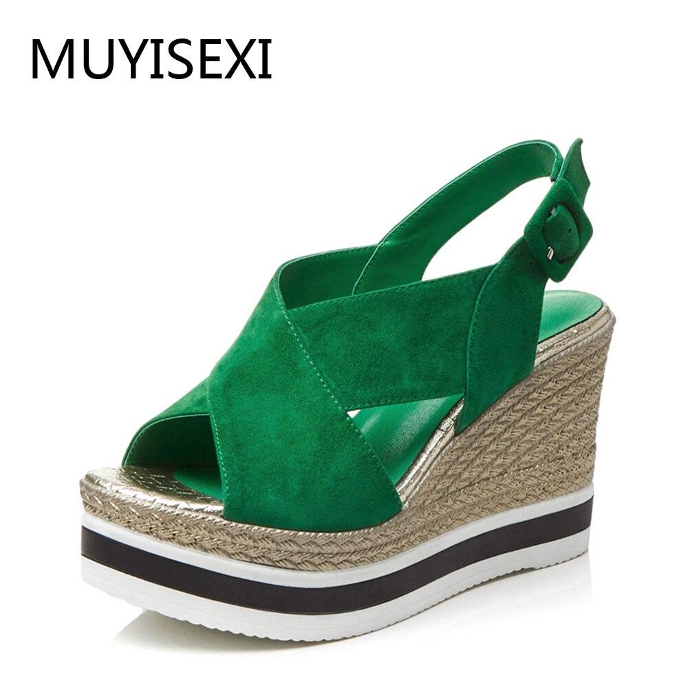 Zielony kobiety sandały ekstremalne wysokie obcasy 10cm kliny płaskie platformy buty na lato na co dzień kobieta czarny TN08 MUYISEXI w Wysokie obcasy od Buty na  Grupa 1