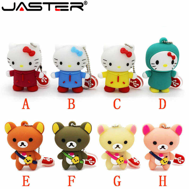 JASTER Ursos olá kitty usb flash drive pendrive animais 4gb 8gb gb gb 64 32 16 GB pen drive USB 2.0 flash Memory Stick keychain