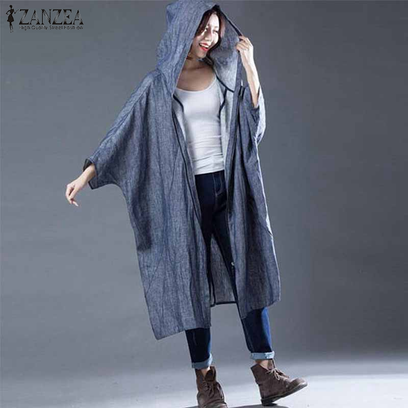 ZANZEA Hooded Overcoat   Trench   Coat For Women Casual Loose Cotton Batwing Sleeve Solid Mid-Length Windbreaker Female Plus Size