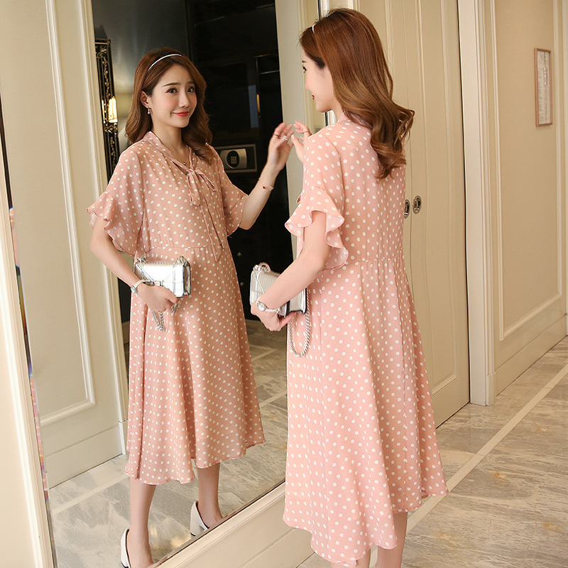 Polka Dot Maternity Dress Bohemian Pregnancy Clothes Loose Dot Cotton Maternity Clothing Of Pregnant Women Premama цена 2017