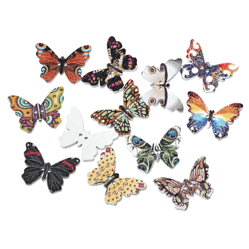 "DoreenBeads Wood Sewing Button Scrapbooking Butterfly At Random <font><b>2</b></font> Holes Pattern Pattern 25.0mm(<font><b>1</b></font>"")<font><b>x</b></font> 18.0mm( 6/<font><b>8</b></font>""),<font><b>9</b></font> PCs 2016 new"