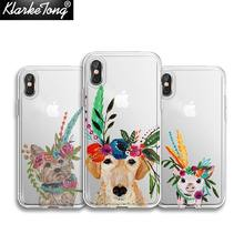 KlarkeTong Soft Clear Silicone Miss Piggy Boho Labrador Floral Phone Cases For iPhone X SE 5 5S 6 6SPlus 7 8 Plus XS MAX XR 10(China)