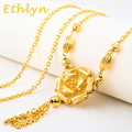 Ethlyn Nigerian jewelry  Romantic Flower women costume jewelry Gold Plated women sweater chain decoration clothing   S006