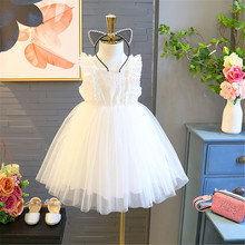 купить 2019 Summer White Girls Princess Dresses Cute Tutu Kids Party Dress Mesh Children's Clothes Baby Girl Vestidos Ball Gown Dresses дешево