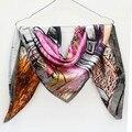 Новое поступление женщин шелковые шарфы роскошный высококачественный сорт марка дизайнер китайский стиль 90 шарф мода женский шарф имитации шелк-милой b72
