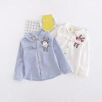 Baby Girls Cartoon Rabbit Shirt 2017 Autumn Brand Girls Full T Shirt Cute Animal Ruffles Shirts
