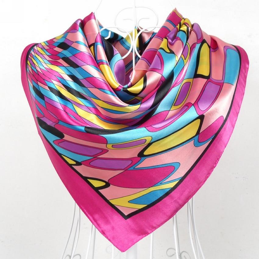 Дизайн женский Шелковый большой квадратный шелковый шарф из полиэстера, 90*90 см горячая Распродажа атласный шарф с принтом для весны, лета, осени, зимы