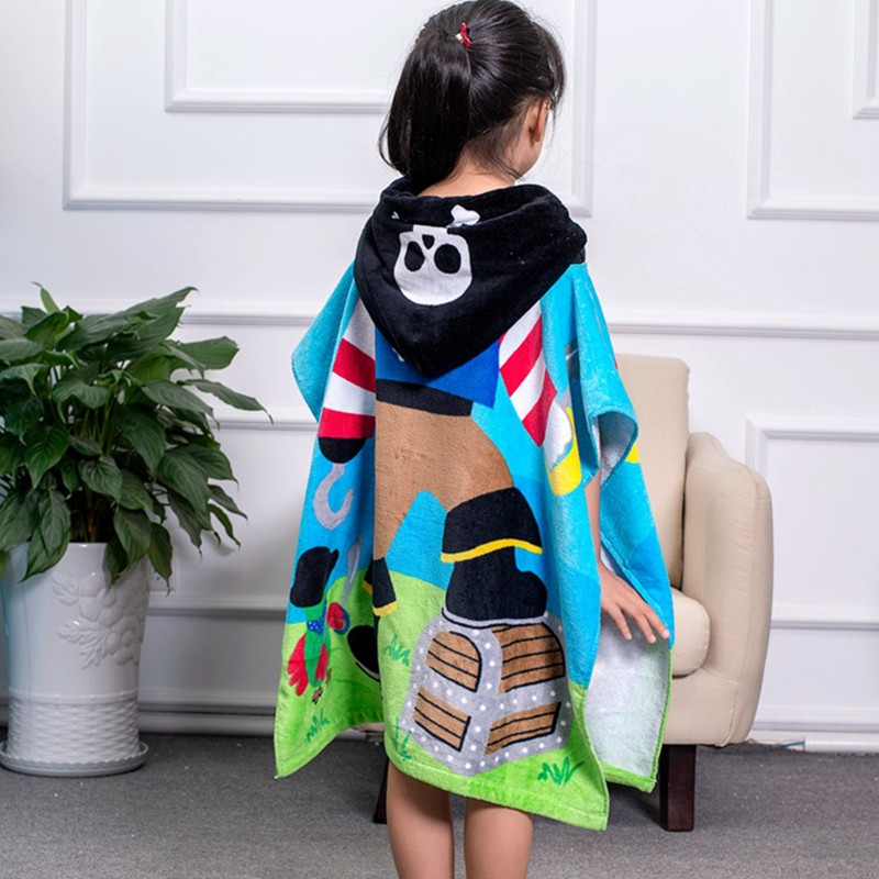 60x64cm 100% cotton bath towel reactive printing cartoon water absorption swimming pool household boy girl hooded beach towel T2