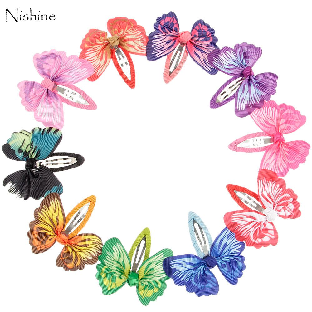 NISHINE 10pcs/lot Butterfly Printed Hair Ribbon Bows Hair Clip Bows Baby Girls Bobby Pin Children Hair Pins Hair Accessories 2pcs bowknot girl kids mini hair clip hairgrip satin hair ribbon bows hairpin accessories for girls hair clips hairclip barrette