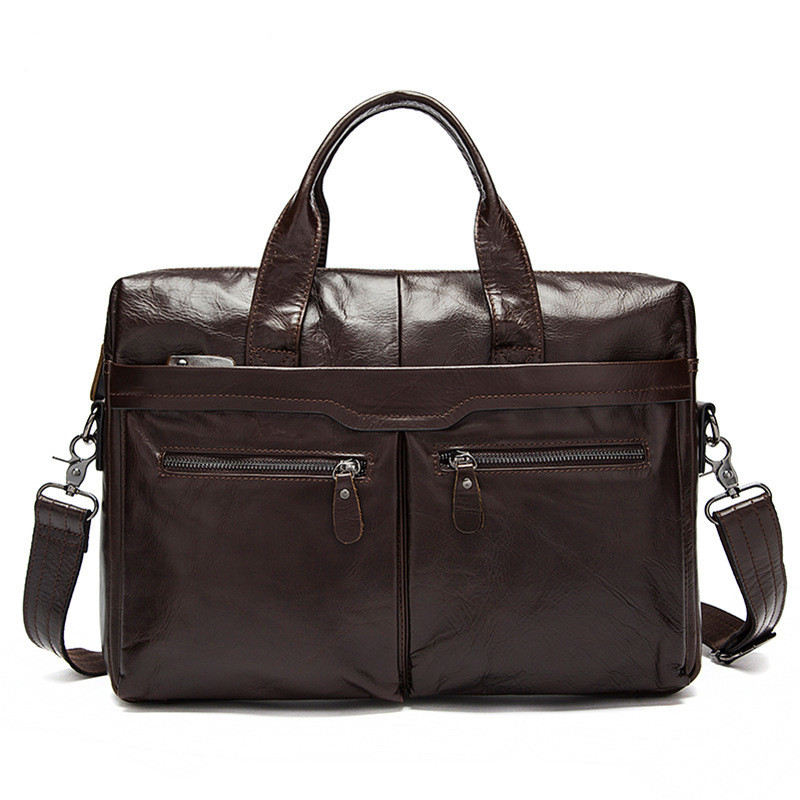 Top Brand Design Vintage Men Leather Bags Natural Cowskin Genuine Leather Men's Briefcase Large Capacity 14