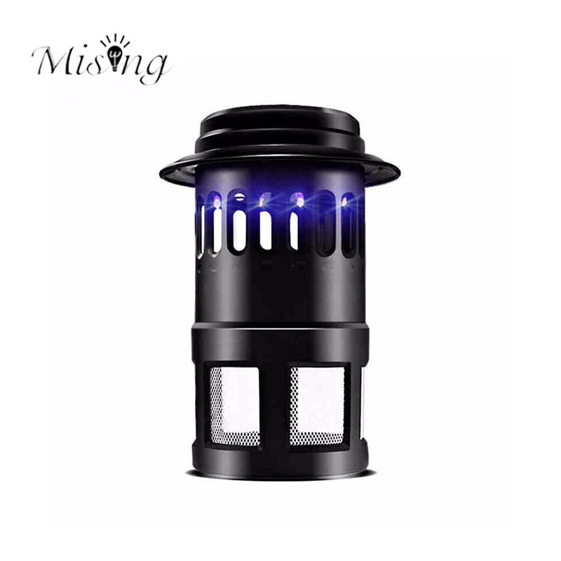 Mising 220V 4W Electric LED Light Mosquito Killer Fly Bug Insect Zapper Trap Catcher Lamp Black Outdoor Camping Light US Plug