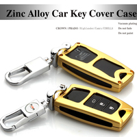 Vàng 3D Kim Loại car key trường hợp Chains key bag key trường hợp bao gồm AUTO Key Trường Hợp Đối Với Toyota thái Prado highlander Camry Carolla Levin