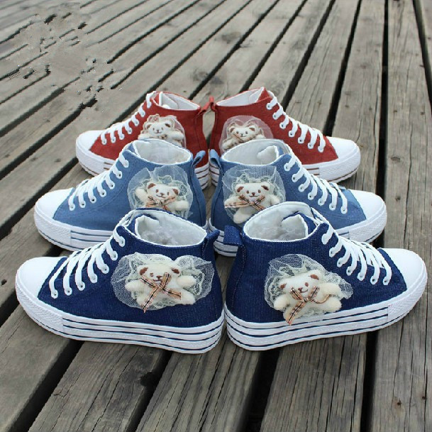 Women's shoes canvas high platform casual cartoon fashion skateboarding cotton-made - Locks World store