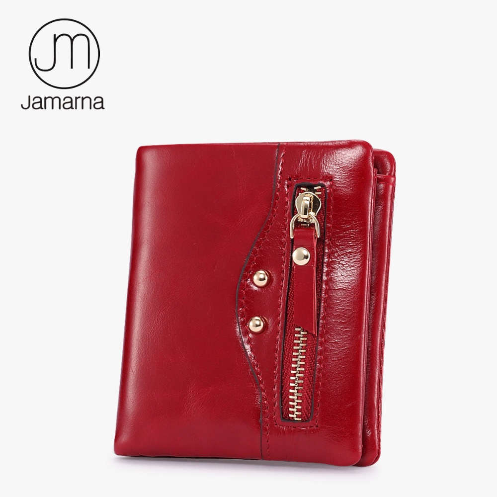 Jamarna Women Wallets Genuine Leather Oil Waxing Bifold Red Small Coin Purse Card ID Holder Photo Pocket Brand New size 34 43 new fashion casual women pointed toe rivet flat bottom shoes women slip on valentine flats candy color zapatos mujer