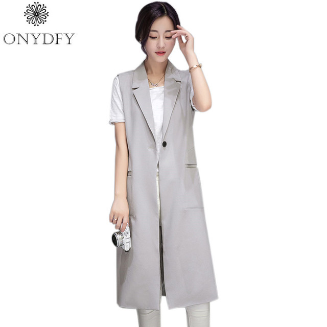 Women Long Vest Coat 2017 Grey Black veste Femme Ladies Office Suits Casual Sleeveless Jacket Female Waistcoat Colete Feminino